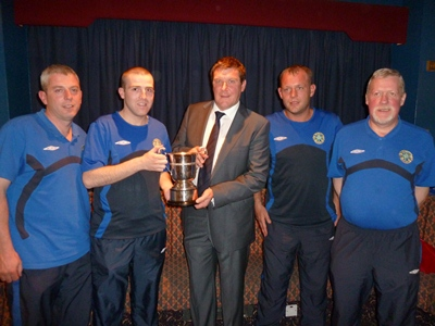 St Patricks YM Cochrane Corry Cup Tommy Wright presents M & D Burns,D Rimes & A Devlin with the C/Corry cup
