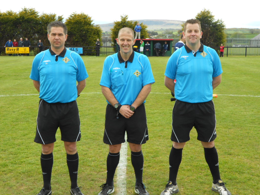 referee Joe Watson  with his assistants Gary Gallagher & Jonathan Stephenson