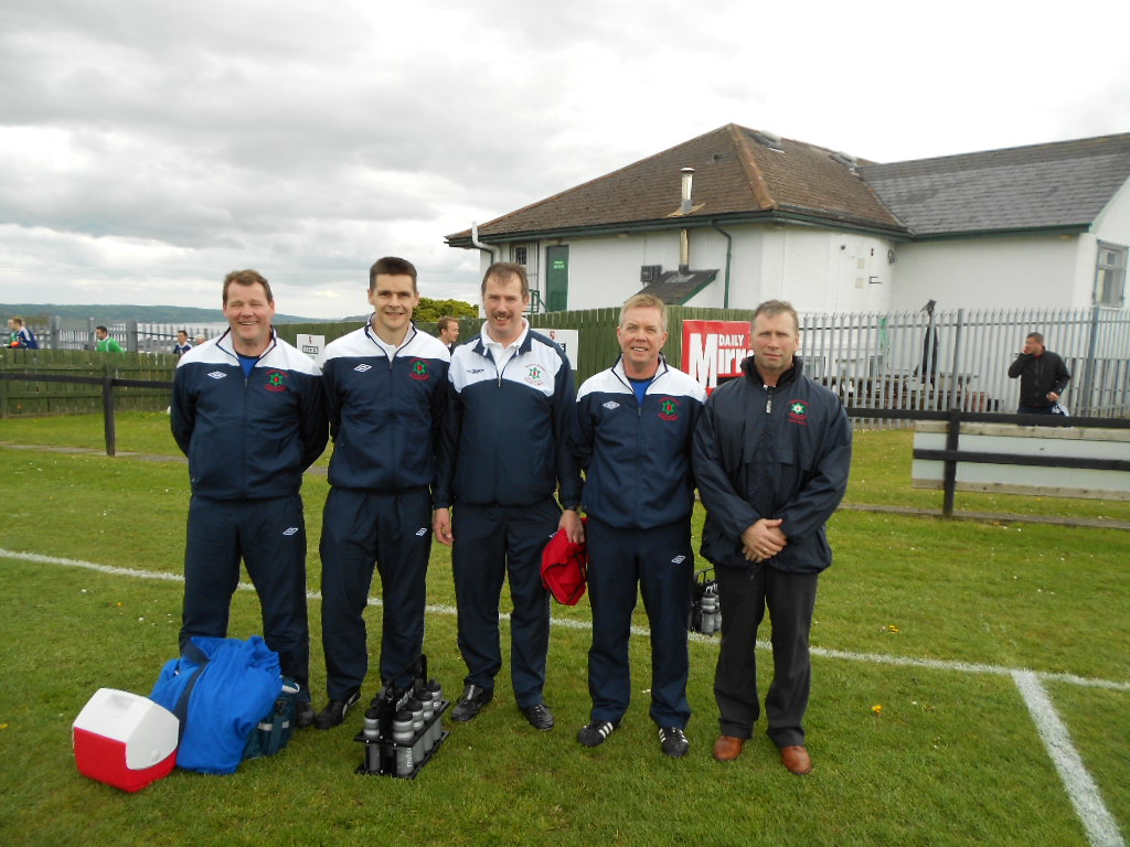 The backroom staff Andy Smyth (Goalkeeping coach)<br />Brian Strain (Physio)<br />Alistair Gray (Kit Man)<br />John McMinn (Coach)<br />Hugh Ross (Assistant Manager)