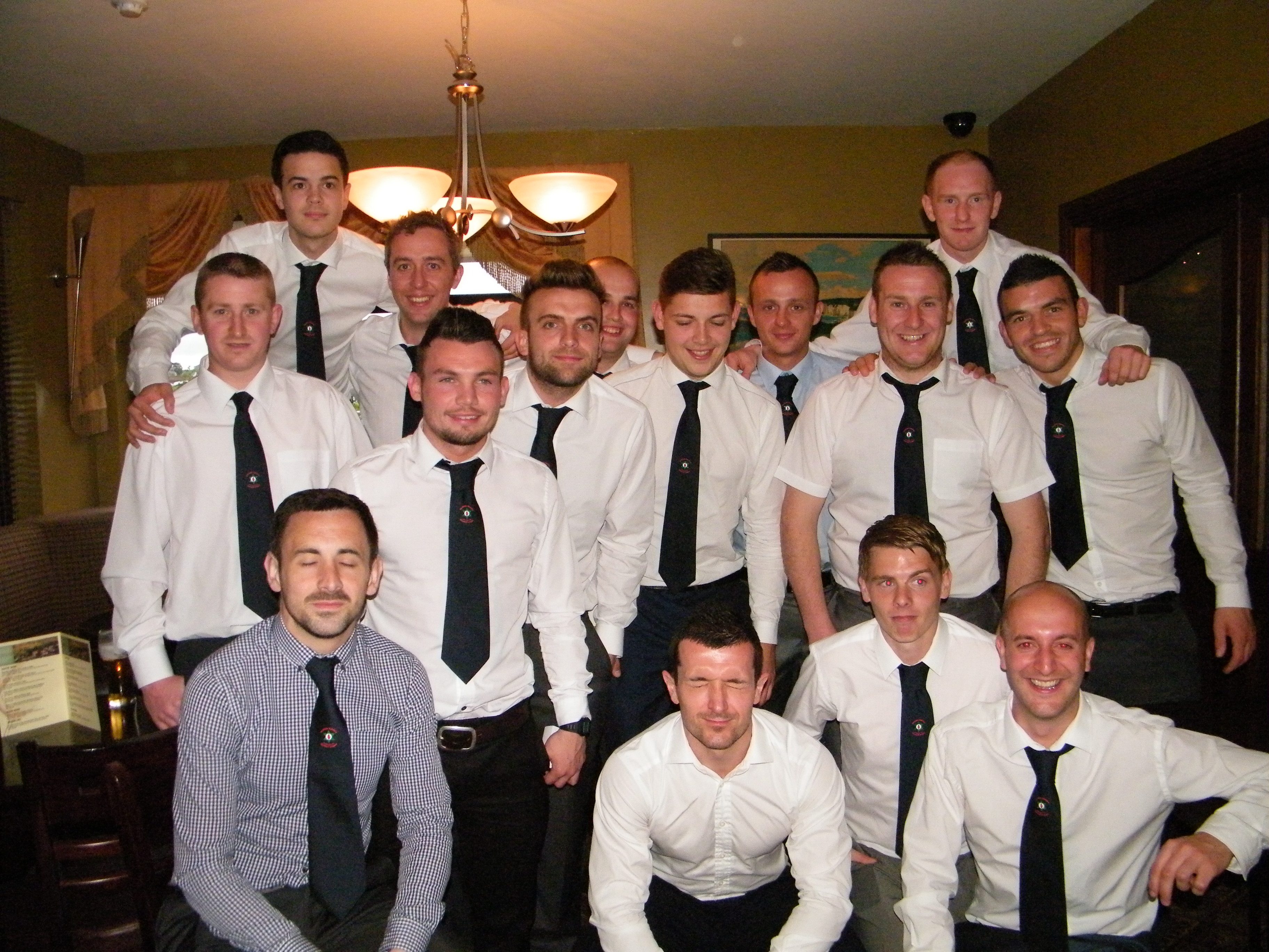 Victorious NAFL team at post match dinner