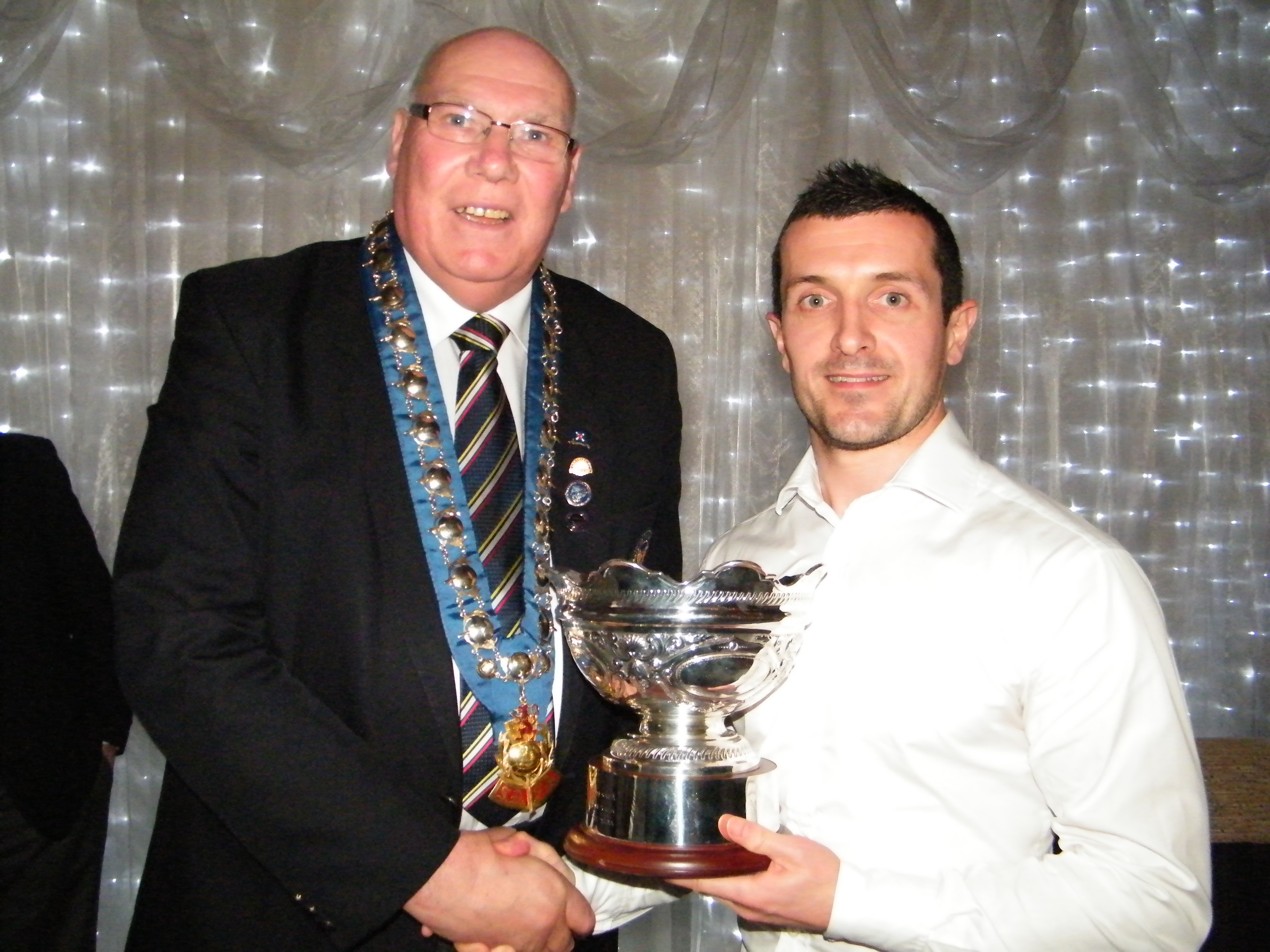 Hugh Knapp President SAFA presents Rosebowl to NAFL Captain