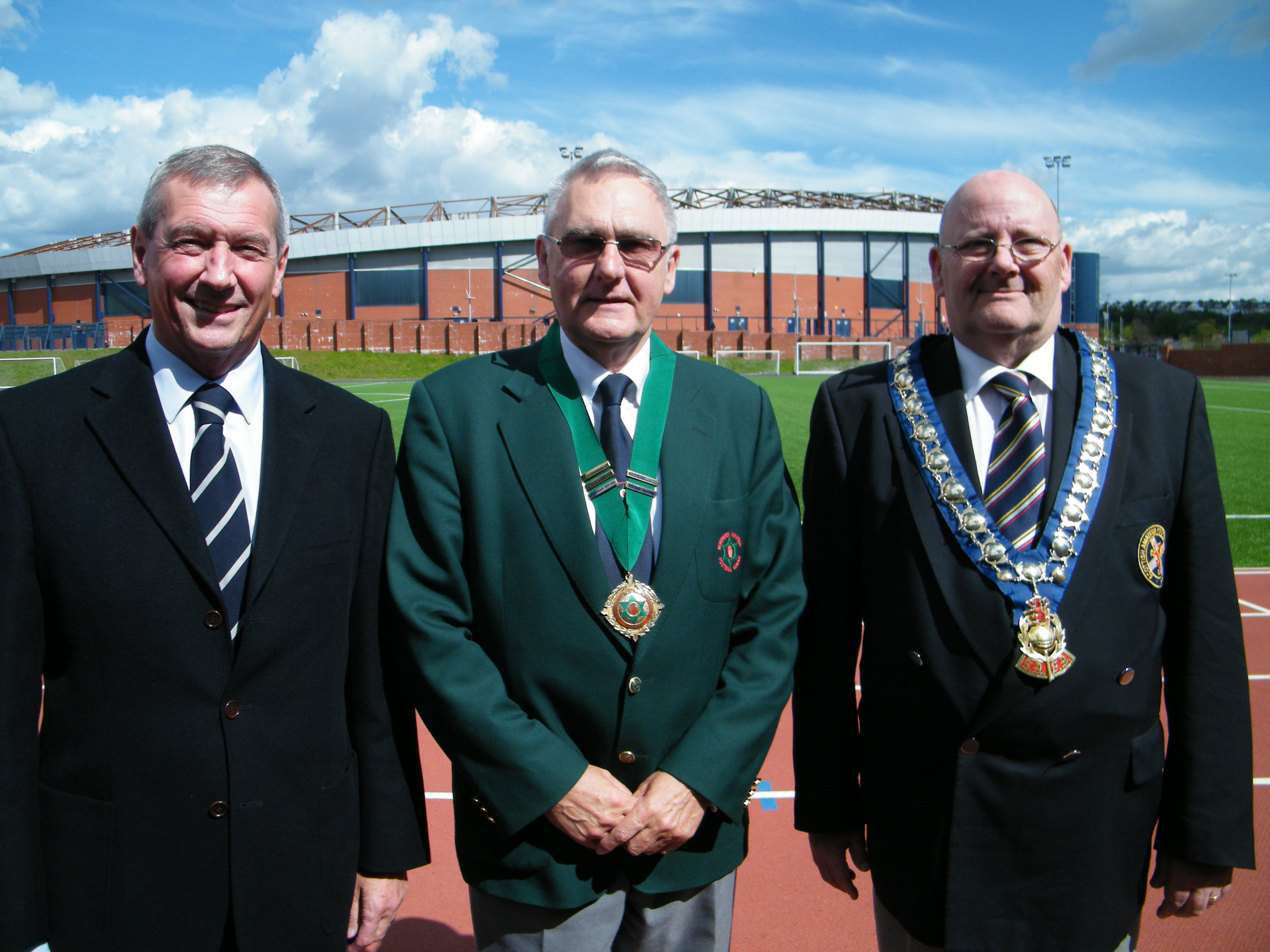 Scottish FA President Campbell Ogilvie,  Terry Pateman & SAFA President Rex Callagher